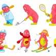 Постер, плакат: Vector set of pink monsters sport cartoon illustrations