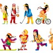 Постер, плакат: Vector set of american indians sport illustrations