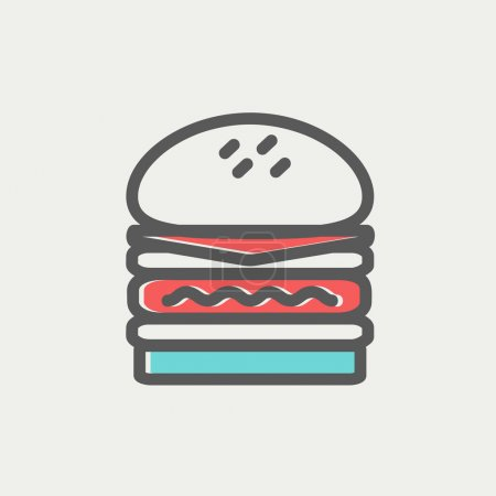 Double burger thin line icon