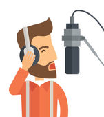 A caucasian radio DJ with headphone and microphone raising his voice A Contemporary style Vector flat design illustration isolated white background Square layout