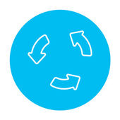Replay button line icon for web mobile and infographics Vector white icon on the light blue circle isolated on white background