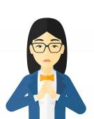 Regretful woman with clasped hands vector flat design illustration isolated on white background