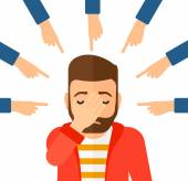 Guilty man looking down covering face with his hand and many fingers around pointing at him vector flat design illustration isolated on white background Square layout