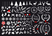 White Christmas big set of graphic design elements vector