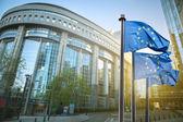Flagge der Europäischen Union gegen das Parlament in Brüssel