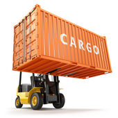 Forklift handling the cargo shipping container box.