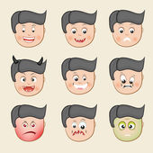 Set of different facial expressions with funny cartoon of a boy on beige background