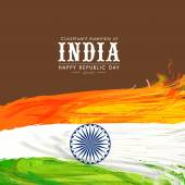 Happy Indian Republic Day celebration with national tricolor feathers and Ashoka Wheel on brown background