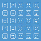 Set of different facial expressions in square shape on blue background