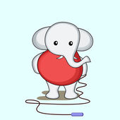 Character of elephant with skipping rope and wearing red human clothes