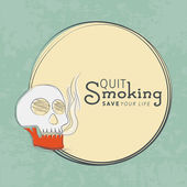 No Smoking Day concept with human skull and text Quit Smoking in rounded frame on grungy background
