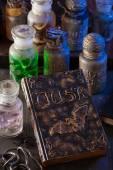 Kouzelná kniha čarodějnice lékárník sklenice lektvary halloween dekorace