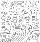 Kids clouds sun rainbow child like drawings elements set