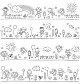 Black and white pattern for children with cute nature elements child like drawing style