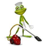 3D obrázek žáby se služkou, vysávání