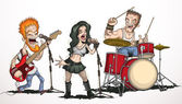 Rock band consisting of three musicians Drummer guitarist vocalist and singer
