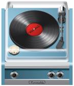 Vector icon of vintage turntable isolated on white background File contains gradients blends and transparency No strokes