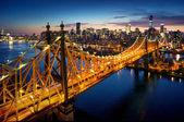 New York City - csodálatos naplemente-ért, már több mint a Queensboro híd manhattan