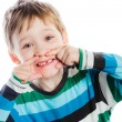 Постер, плакат: Little boy showing his missing tooth