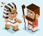 Moses vs ramses isometric Vector illustration