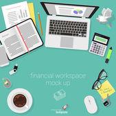 Plochý design účetní pracovní prostor