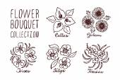 Handsketched bouquets collection  Floral labels  Suitable for ads signboards identity and wedding designs