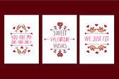 Szent Valentin nap kézzel rajzolt üdvözlőlapok csoportja