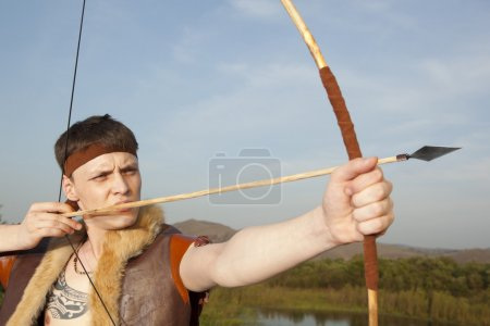 Robin Hood. Archer with arrow and long bow