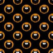 Seamless halloween pattern with cartoon owls in hollows over bla