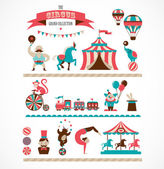 Vintage hipster circus collection with carnival fun fair vector icons and background and illustration