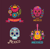 Mexico flowers skull and food elements Vector illustration