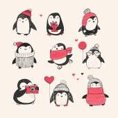 Cute hand drawn penguins set -  Merry Christmas