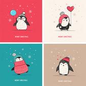 Süße Hand gezeichneten Pinguine Set - Frohe Weihnachten-Grüße