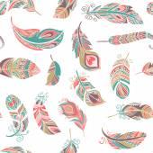 Bohemian ethnic style feathers seamless pattern