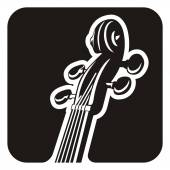 Black and white violin detail icon