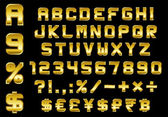 Alphabet numbers currency and symbols pack - rectangular beveled golden font vector