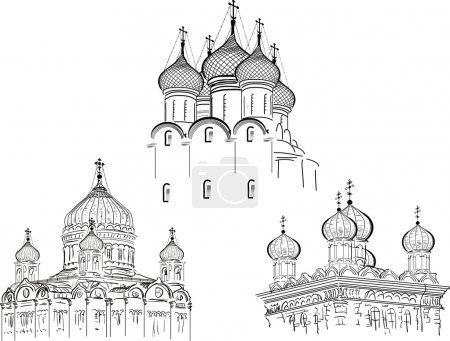 Постер, плакат: Three orthodox cathedrals, холст на подрамнике