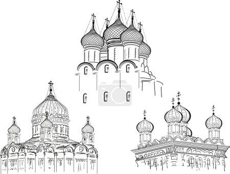 Постер, плакат: Three orthodox cathedrals, холст на подрамнике