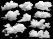 Satz von isolierten Wolken über schwarz