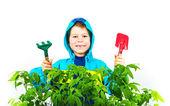 Šťastný jarní zahradnické chlapce s sazenice a nástroje na bílém pozadí