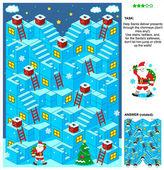 Santa doručit dárky 3d vánoční nebo novoroční bludiště hra