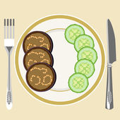 On a white plate slices of eggplant and cucumber Fork and knife