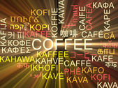 Coffee multilanguage wordcloud background concept glowing