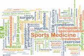 Fondo di wordcloud del concetto di medicina dello sport