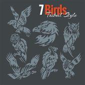 Ptáci v tribal stylu. Vektorové sada