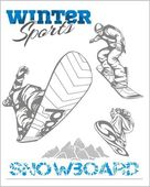 Snowboarder at jump in mountains Vector set