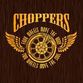 Gold vintage motorkáři odznak na dřevěné textury. Vektorové akcie