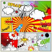 Állítsa be a retro képregény vector design elemek, beszéd és a gondolat buborékok