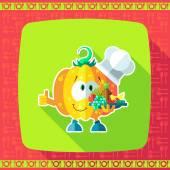 Sada ikon na téma kuchyně. Legrační kuchaři - dýně ve stylu