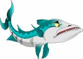 Barracuda cartoon character isolated on white background